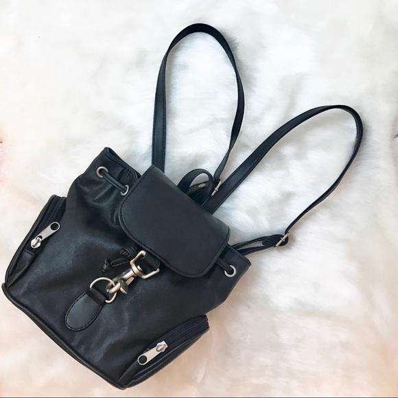 Handbags - Black • Faux Leather Mini Knapsack Backpack d305e8b586b09
